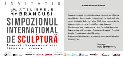 Invitaţia de participare la deschiderea oficială a Simpozionului Internaţional de Sculptură de la Târgu Jiu, ca va avea loc pe data de 1 august, ora 13:00, la Centrul Multifuncţional Bârseşti...